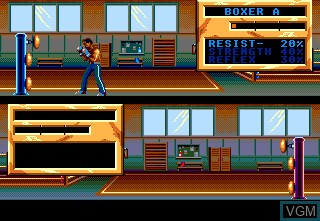 In-game screen of the game Panza Kick Boxing on NEC PC Engine