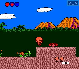 In-game screen of the game Bonk's Adventure on NEC PC Engine