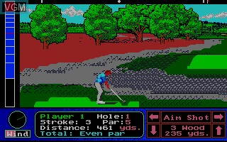 In-game screen of the game Jack Nicklaus' Turbo Golf on NEC PC Engine