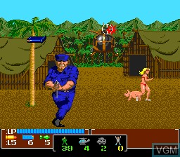 In-game screen of the game Operation Wolf on NEC PC Engine