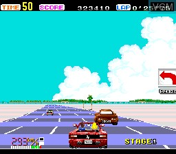 In-game screen of the game OutRun on NEC PC Engine