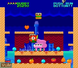 In-game screen of the game Parasol Stars - The Story of Bubble Bobble III on NEC PC Engine