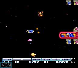 In-game screen of the game Parodius Da! - Shinwa kara Owarai he on NEC PC Engine