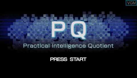 Title screen of the game PQ - Practical Intelligence Quotient on Sony PSP