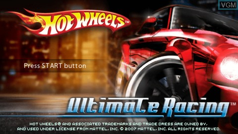 Title screen of the game Hot Wheels Ultimate Racing on Sony PSP