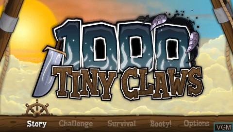 Title screen of the game 1000 Tiny Claws on Sony PSP
