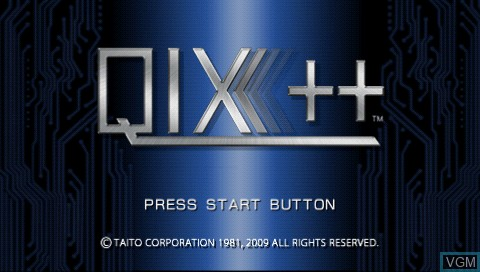 Title screen of the game Qix++ on Sony PSP
