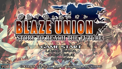 Title screen of the game Blaze Union - Story to Reach the Future on Sony PSP