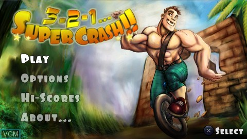 Title screen of the game 3 2 1 - Supercrash! on Sony PSP