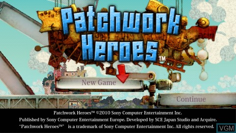 Title screen of the game Patchwork Heroes on Sony PSP