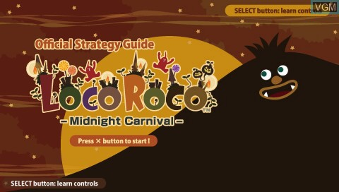 Title screen of the game LocoRoco - Midnight Carnival - Official Strategy Guide on Sony PSP