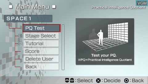 Menu screen of the game PQ - Practical Intelligence Quotient on Sony PSP