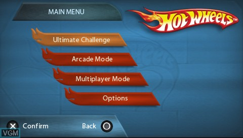 Menu screen of the game Hot Wheels Ultimate Racing on Sony PSP