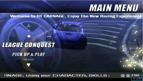 Menu screen of the game DT Carnage on Sony PSP