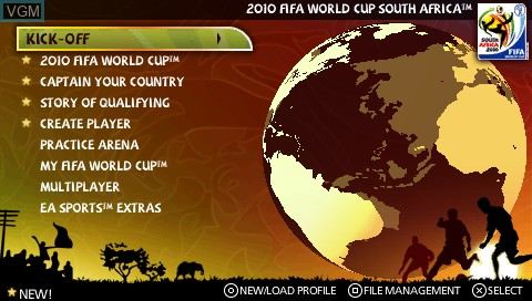 Menu screen of the game 2010 FIFA World Cup - South Africa on Sony PSP