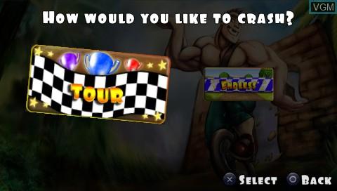 Menu screen of the game 3 2 1 - Supercrash! on Sony PSP