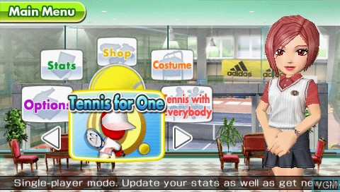 Menu screen of the game Everybody's Tennis on Sony PSP