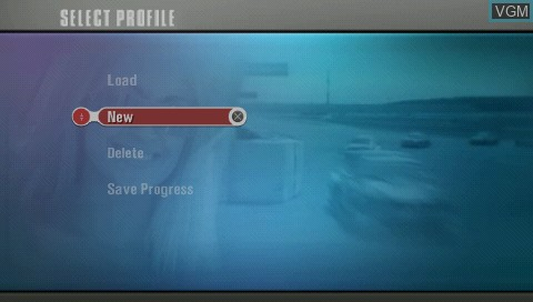 Menu screen of the game Race Driver 2006 on Sony PSP