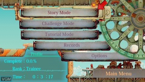Menu screen of the game Patchwork Heroes on Sony PSP