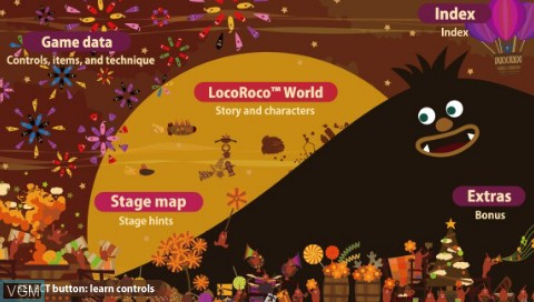 Menu screen of the game LocoRoco - Midnight Carnival - Official Strategy Guide on Sony PSP
