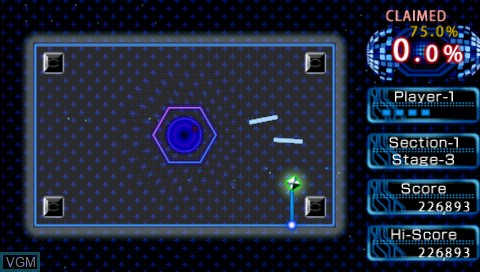 In-game screen of the game Qix++ on Sony PSP