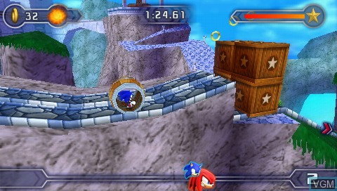 In-game screen of the game Sega Fun Pack - Sonic Rivals 2 / Genesis Collection on Sony PSP