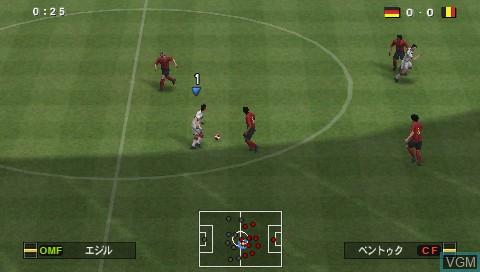 In-game screen of the game World Soccer Winning Eleven 2014 - Aoki Samurai no Chousen on Sony PSP