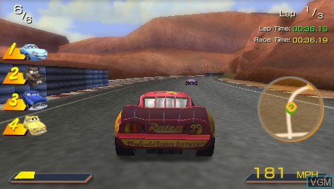 In-game screen of the game Double Pack - Cars + WALL-E on Sony PSP