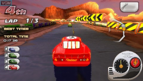 In-game screen of the game Double Pack - Cars + Cars - Race-O-Rama on Sony PSP