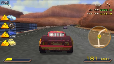 In-game screen of the game Double Pack - Cars + Ratatouille on Sony PSP