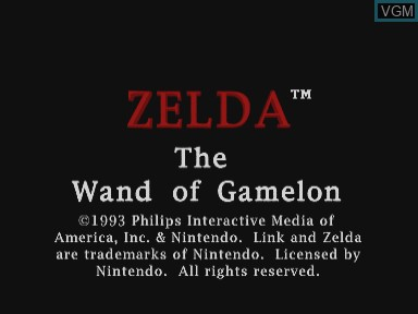 Title screen of the game Zelda - The Wand of Gamelon on Philips CDI