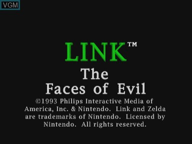 Title screen of the game Link - Faces of Evil on Philips CDI