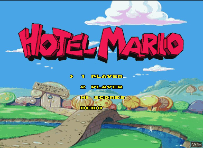 Title screen of the game Hotel Mario on Philips CDI