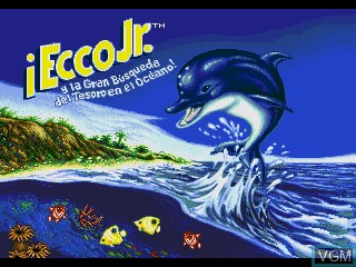Title screen of the game Ecco Jr. y la Gran Busqueda del Tesoro en el Oceano! on Sega Pico
