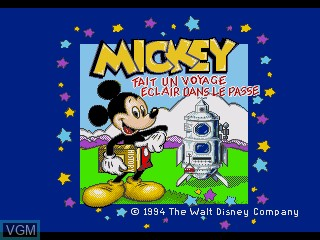 Title screen of the game Mickey - Fait un Voyage Eclair Dans le Passe on Sega Pico
