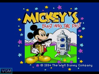 Title screen of the game Mickey's Blast into the Past on Sega Pico