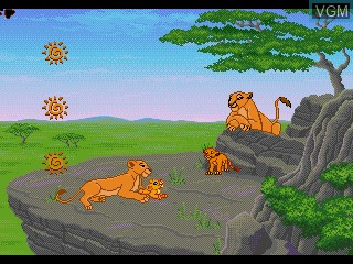 In-game screen of the game Lion King, The - Adventures at Pride Rock on Sega Pico