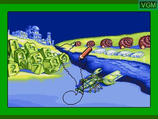 In-game screen of the game Ecco Jr. and the Great Ocean Treasure Hunt! on Sega Pico