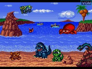 In-game screen of the game Godzilla - Dokidoki Kaijuu-tou on Sega Pico