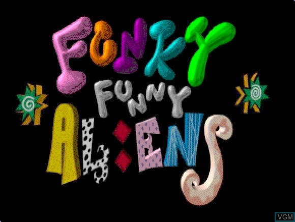 Title screen of the game Funky Funny Aliens on Apple Pippin