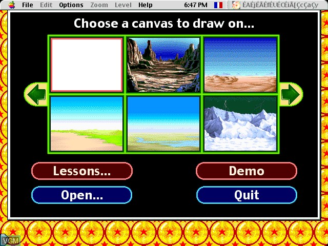 Menu screen of the game AnimeDesigner - DragonBall Z on Apple Pippin