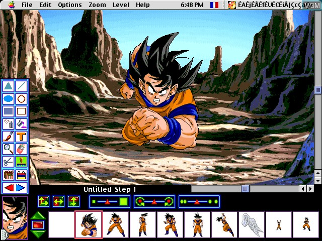 In-game screen of the game AnimeDesigner - DragonBall Z on Apple Pippin