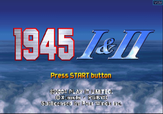 Title screen of the game 1945 I&II The Arcade Games on Sony Playstation 2
