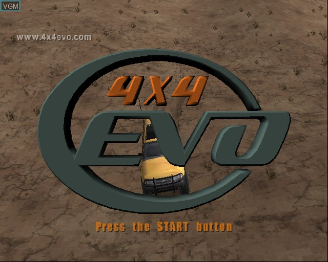 Title screen of the game 4X4 Evolution on Sony Playstation 2