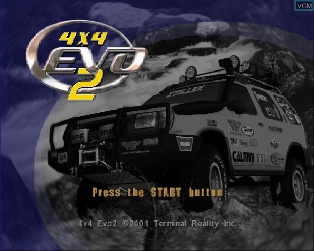 Title screen of the game 4X4 EVO 2 on Sony Playstation 2
