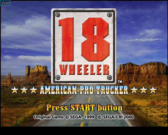 Title screen of the game 18 Wheeler - American Pro Trucker on Sony Playstation 2