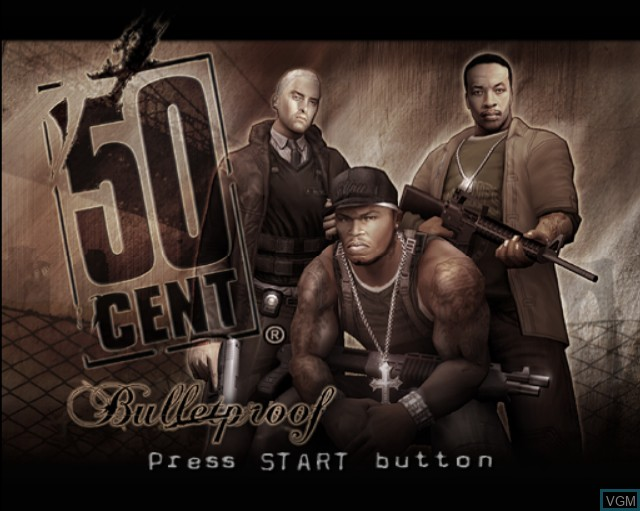 Title screen of the game 50 Cent - Bulletproof on Sony Playstation 2