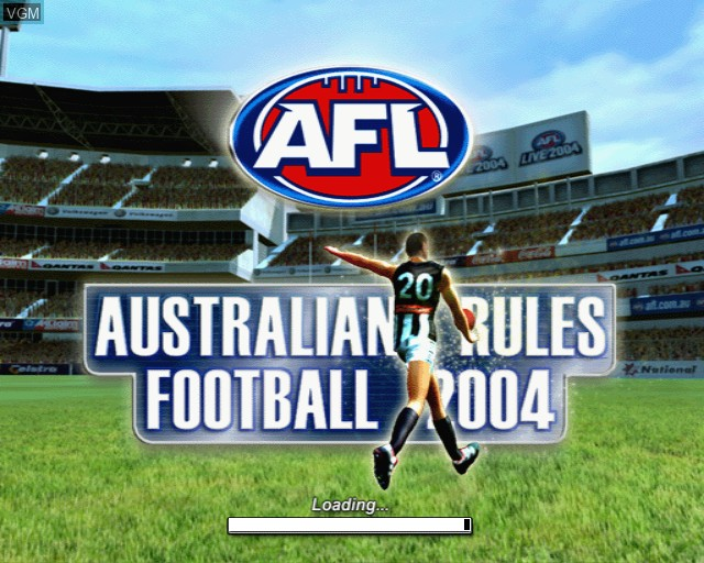 Title screen of the game AFL Live 2004 on Sony Playstation 2