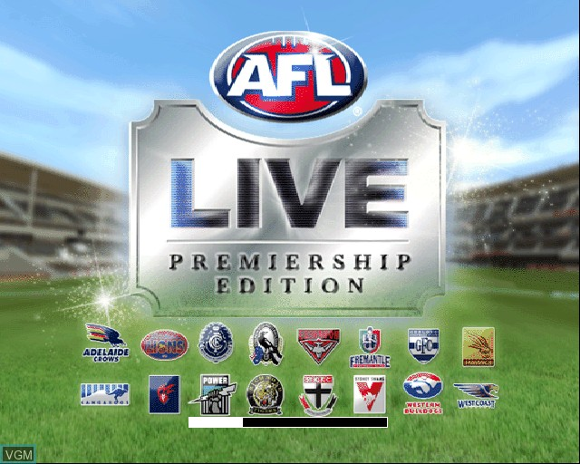 Title screen of the game AFL Live Premiership Edition on Sony Playstation 2