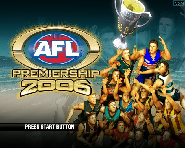 Title screen of the game AFL Premiership 2006 on Sony Playstation 2